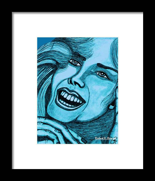 Female Framed Print featuring the painting Laughing Girl In Blue by Richard Heyman