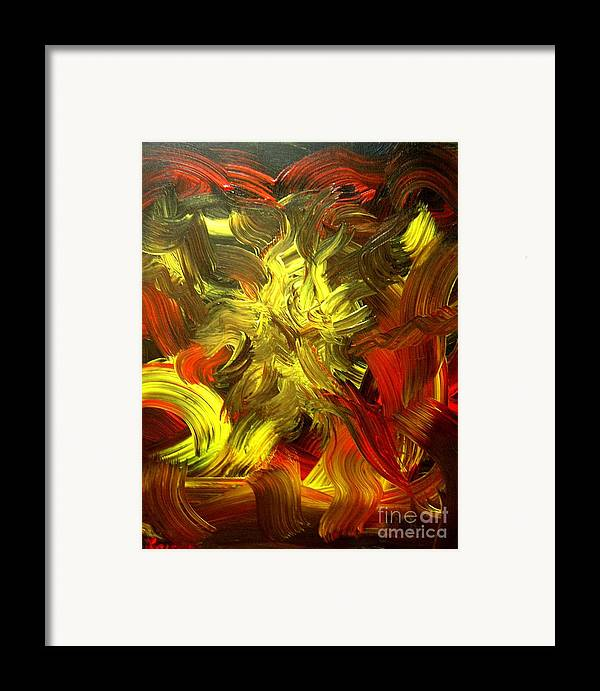 Abstract Framed Print featuring the painting Laughing Lion by Karen L Christophersen
