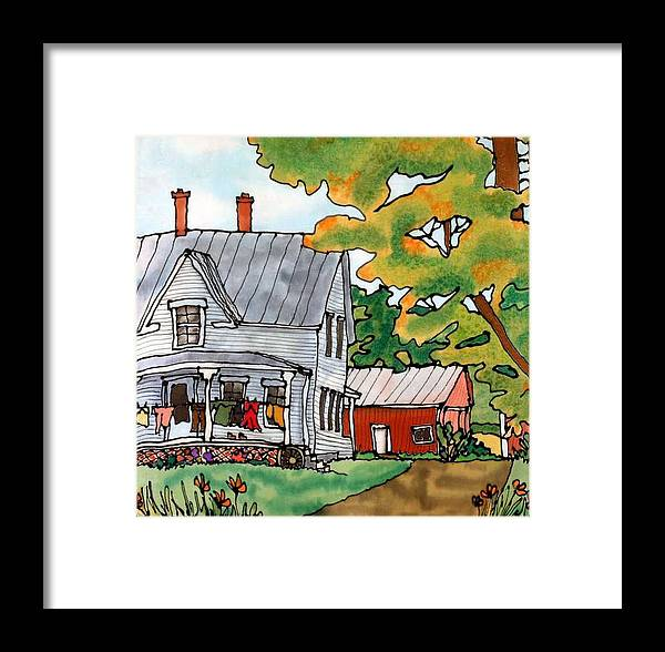 Farm Framed Print featuring the painting Laundry Day by Linda Marcille