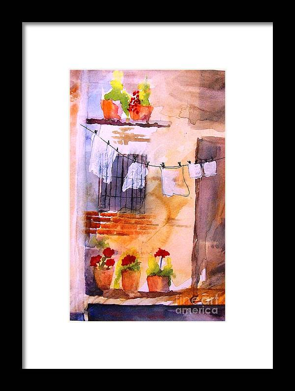 Framed Print featuring the painting Laundry Day by Sandi Stonebraker