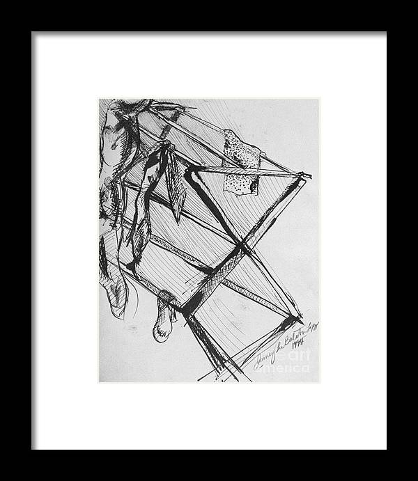 Ink Framed Print featuring the drawing Laundry by Jamey Balester