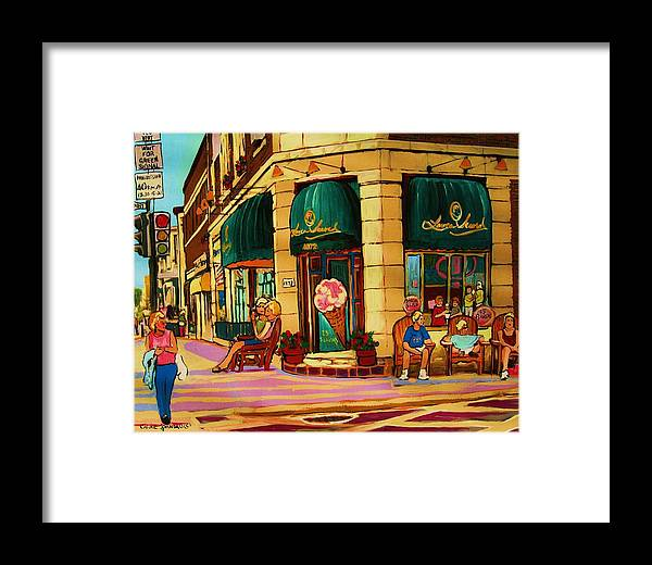 Montreal Streetscenes Framed Print featuring the painting Laura Secord Candy And Cone Shop by Carole Spandau