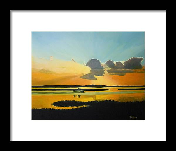 Seascape Framed Print featuring the painting Laura's Sunset by Stephen Degan