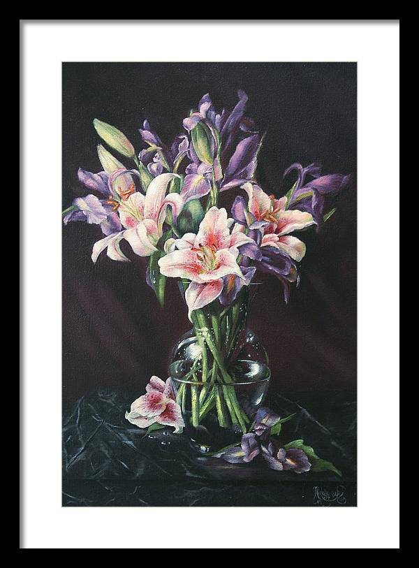Floral Still Life Framed Print featuring the painting Laurette' Lillies by Michelle Kerr