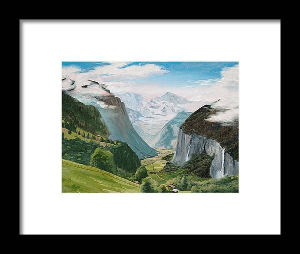 Switzerland Framed Print featuring the painting Lauterbrunnen Valley Switzerland by Jay Johnson