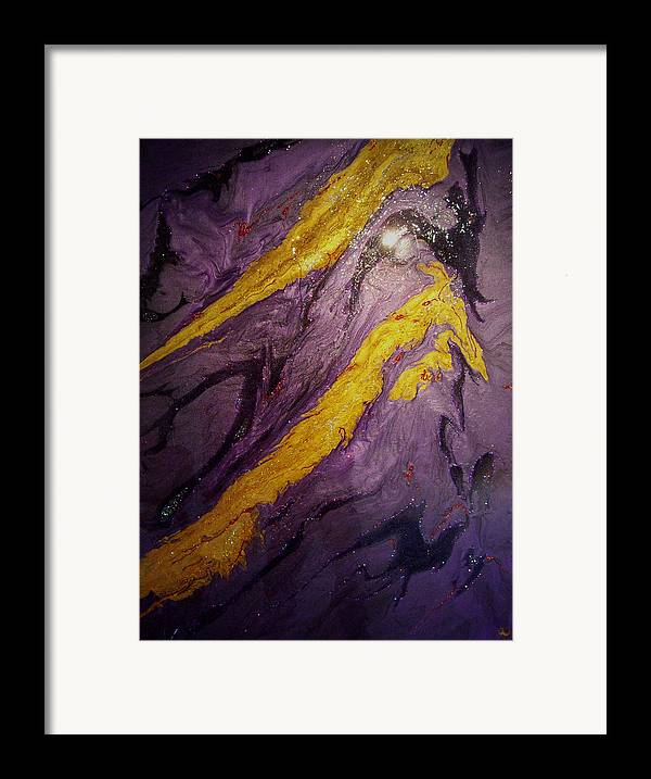 Abstract Framed Print featuring the painting Lava At Night by Patrick Mock