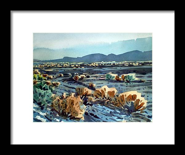 Lava Flow Framed Print featuring the painting Lava Flow in Death Valley by Donald Maier