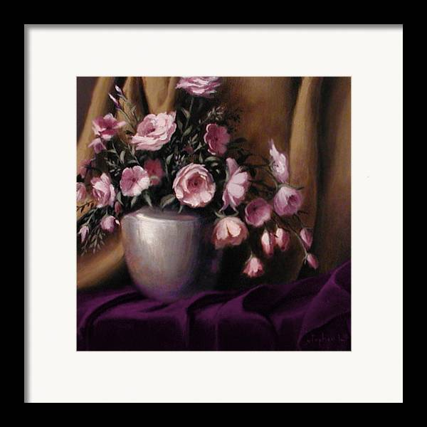 Flowers Framed Print featuring the painting Lavander And Pink Flowers In Silver Vase by Stephen Lucas