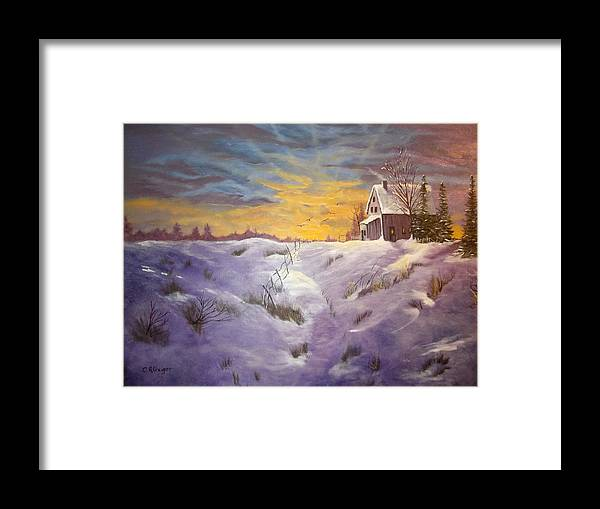Sunset Framed Print featuring the painting Lavendar Snow by Cynthia Geiger
