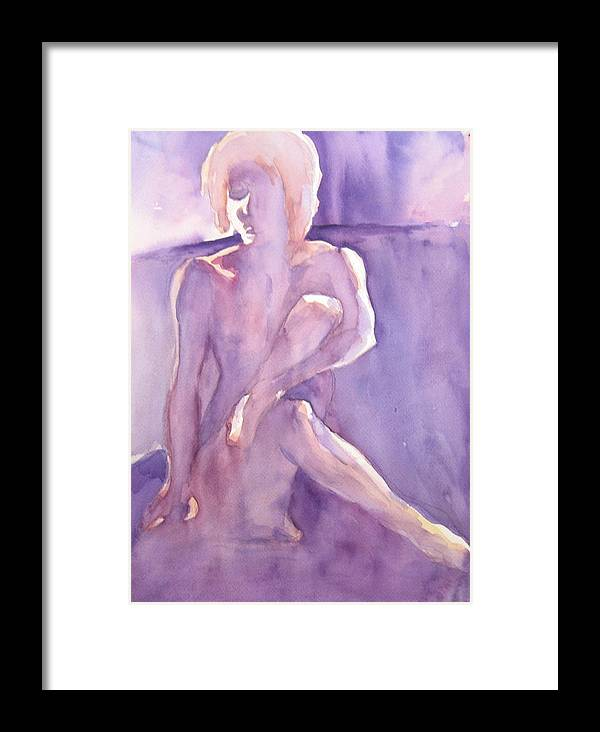 Nude Female Sitting Framed Print featuring the painting Lavender Nude by Ken Daugherty