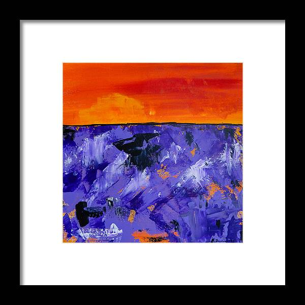 Lavender Framed Print featuring the painting Lavender Sunset Abstract Landscape by Eliza Donovan