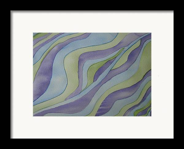 Abstract Framed Print featuring the painting Lavender Waves by Liz Vernand