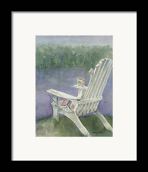 Chair Framed Print featuring the painting Lawn Chair By The Lake by Arline Wagner