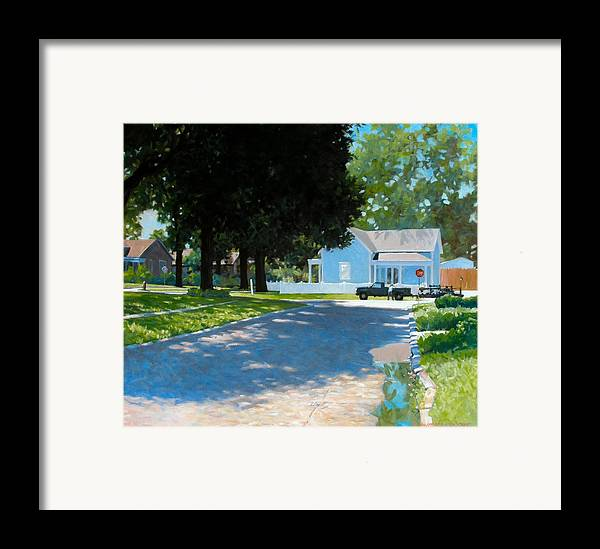 Street Scene Framed Print featuring the painting Lawn Man by Kevin Lawrence Leveque