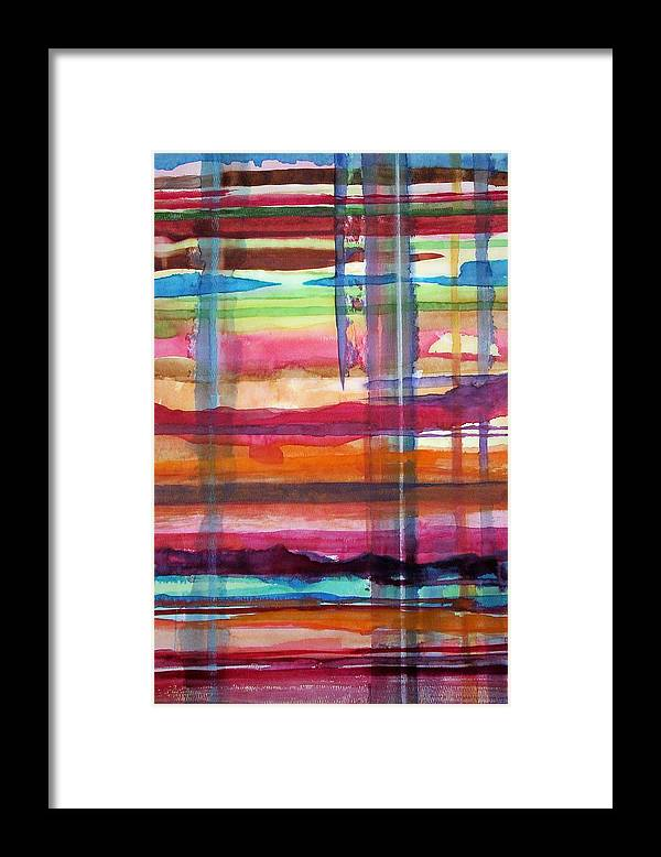 Abstract Framed Print featuring the painting Layered by Suzanne Udell Levinger