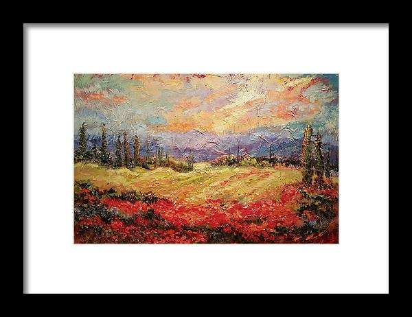 Italian Vineyards Framed Print featuring the painting Layers of Tuscany by Ginger Concepcion