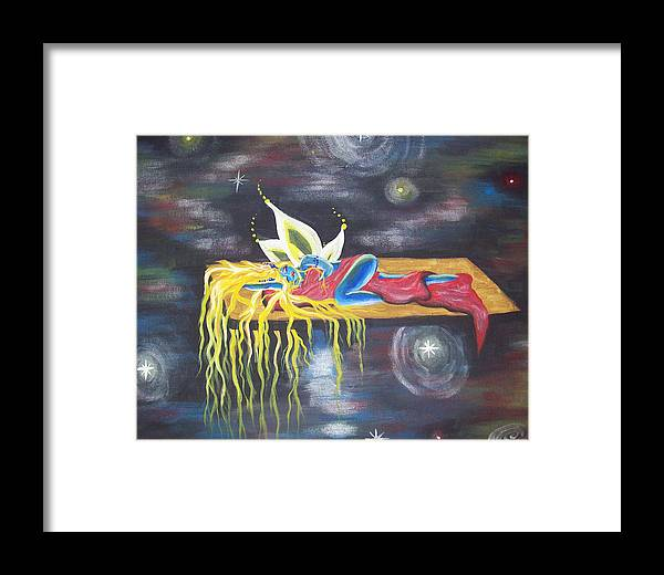 Fairy Framed Print featuring the painting Laying In Space by Hollie Leffel