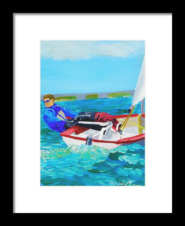 Sailboats Framed Print featuring the painting Lazer by Michael Lee