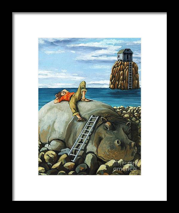 Surreal Framed Print featuring the painting Lazy Days - surreal fantasy by Linda Apple
