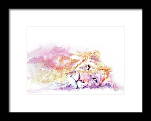 Lion Framed Print featuring the painting Lazy Days - Lion by Stephie Butler