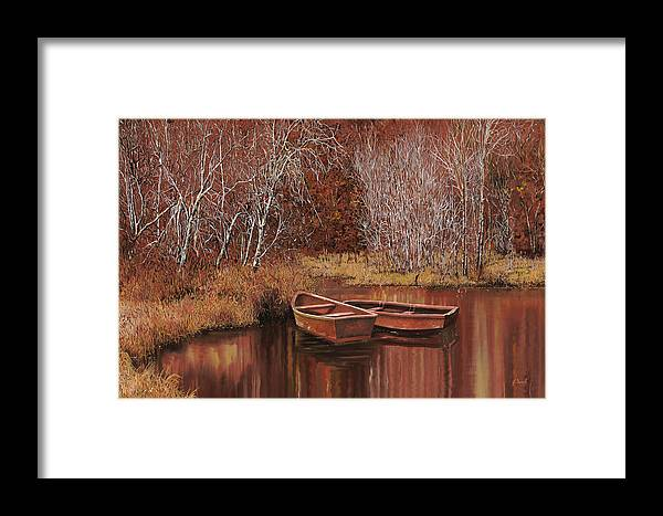 Boats Framed Print featuring the painting Le Barche Sullo Stagno by Guido Borelli