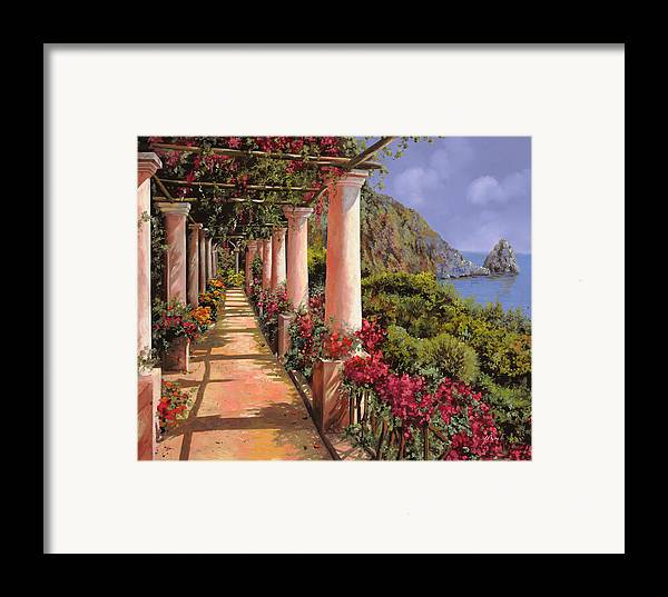 Bougainvillea Framed Print featuring the painting Le Colonne E La Buganville by Guido Borelli