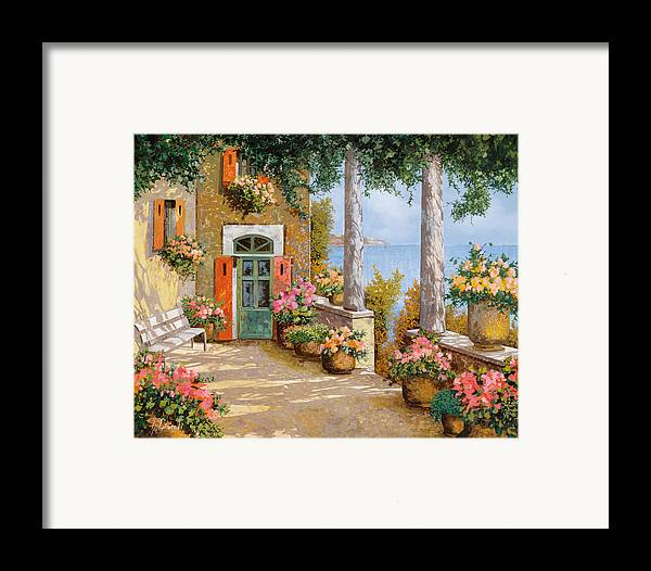 Terrace Framed Print featuring the painting Le Colonne Sulla Terrazza by Guido Borelli