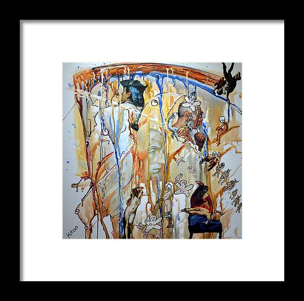 Collage Aquarelle Framed Print featuring the mixed media Le Danseur Et Le Poete by Kitoo Wikitoo Calaudi