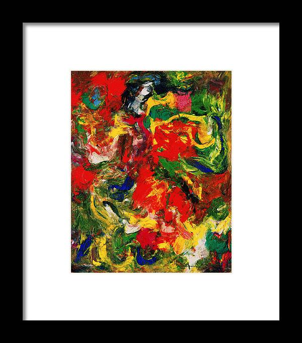 Abstract Framed Print featuring the painting Le Danseur Et Les Animaux by Dominique Boutaud
