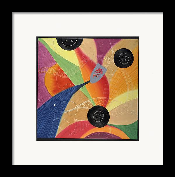 Abstract Framed Print featuring the painting Le Fer Et Les Boutons by Dominique Boutaud