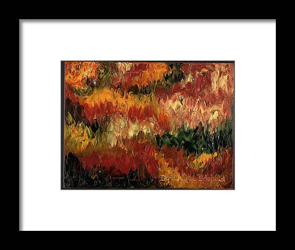 Abstract Framed Print featuring the painting Le Feu Et La Vie 1 by Dominique Boutaud