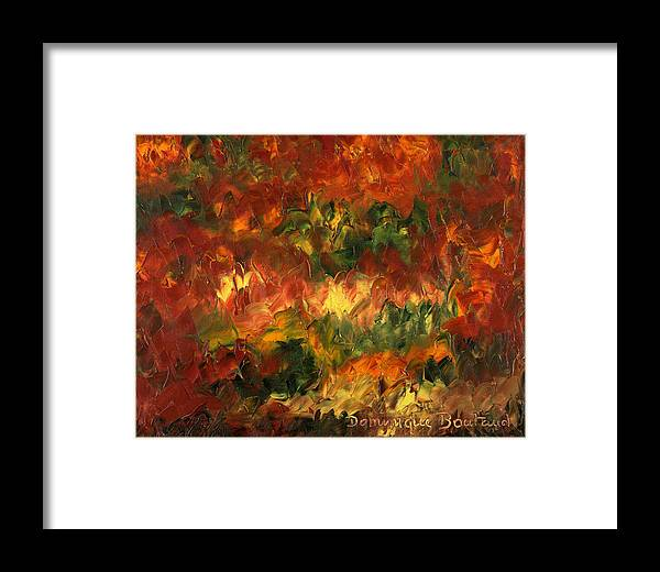 Abstract Framed Print featuring the painting Le Feu Et La Vie 2 by Dominique Boutaud