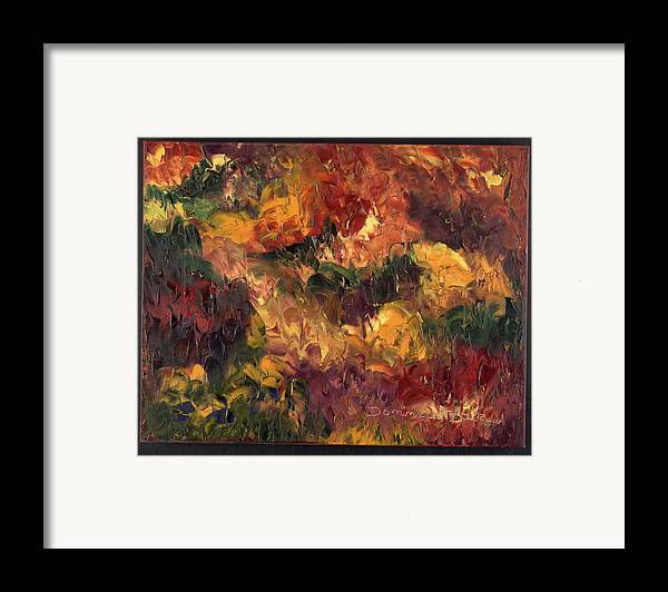 Abstract Framed Print featuring the painting Le Feu Et La Vie 6 by Dominique Boutaud