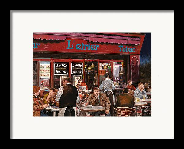 Brasserie Framed Print featuring the painting Le Mani In Bocca by Guido Borelli