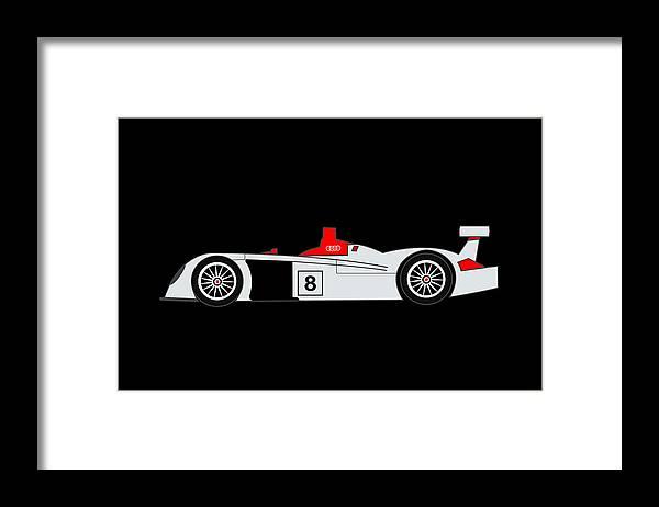 Audi Framed Print featuring the digital art Le Mans Audi R8 by Asbjorn Lonvig