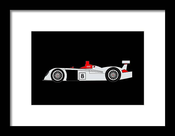 Audi Framed Print featuring the digital art Le Mans Audi R8 by Asbjorn Lonvig