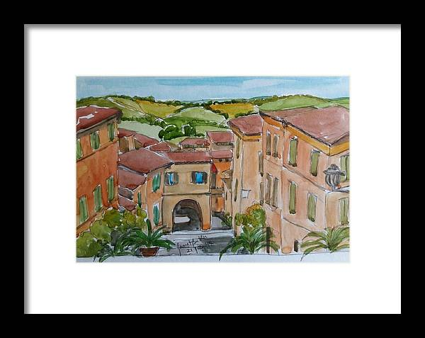 Italy Framed Print featuring the painting Le Marche, Italy by Janet Butler