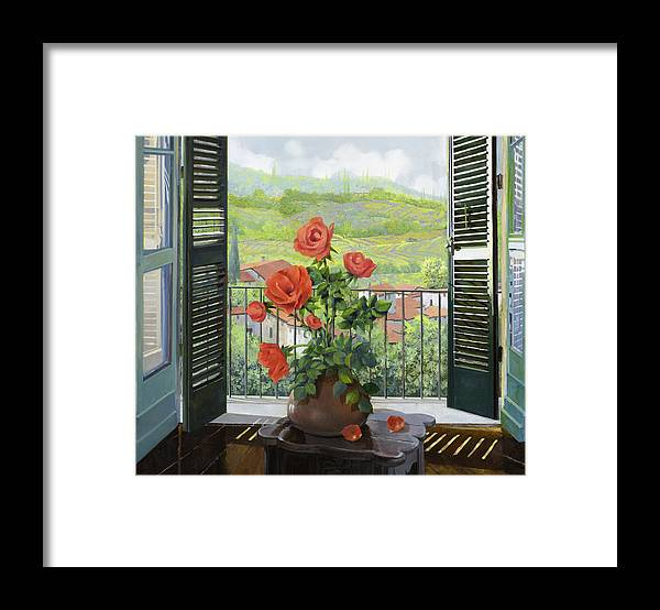 Landscape Framed Print featuring the painting Le Persiane Sulla Valle by Guido Borelli