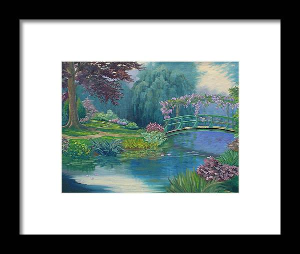 Landscape Framed Print featuring the painting Le Pont Japonais by Tan Nguyen
