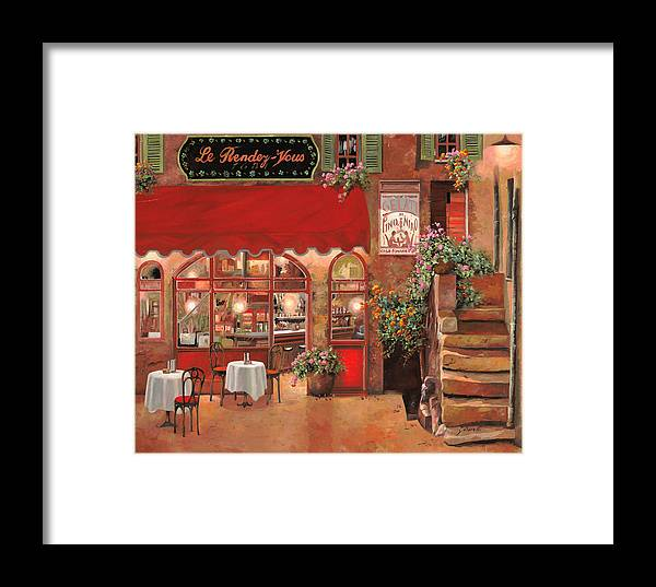 Caffe Framed Print featuring the painting Le Rendez Vous by Guido Borelli
