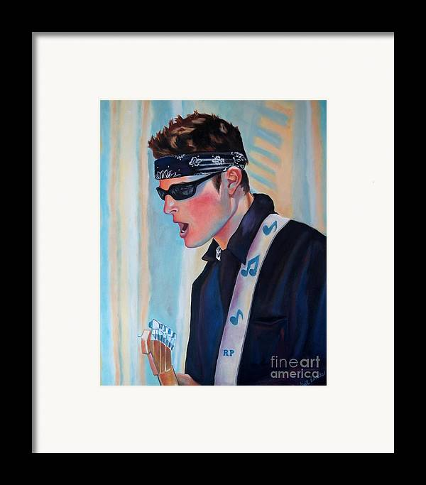 Portrait Framed Print featuring the painting Lead Guitar by Gail Zavala