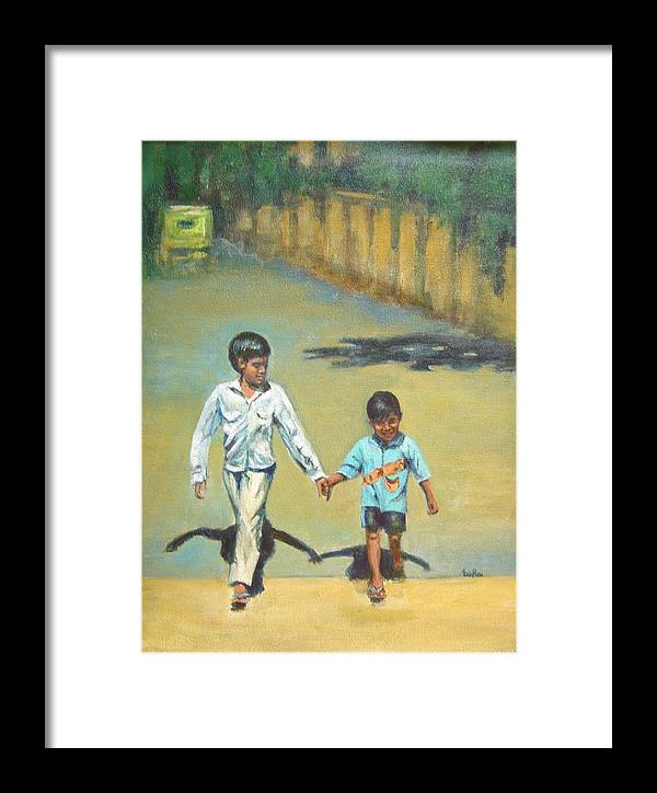 Lead Framed Print featuring the painting Lead Kindly Brother by Usha Shantharam