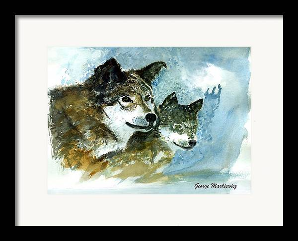 Wolves Framed Print featuring the print Leader Of The Pack by George Markiewicz