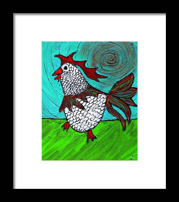 Rooster Framed Print featuring the painting Leader Of The Pack by Wayne Potrafka