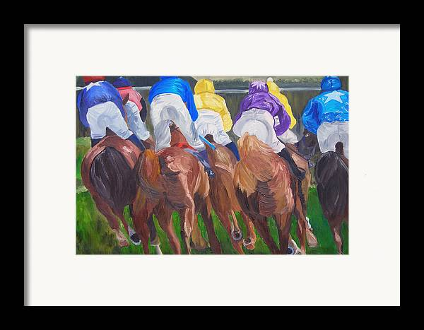Horse Racing Framed Print featuring the painting Leading The Pack by Michael Lee