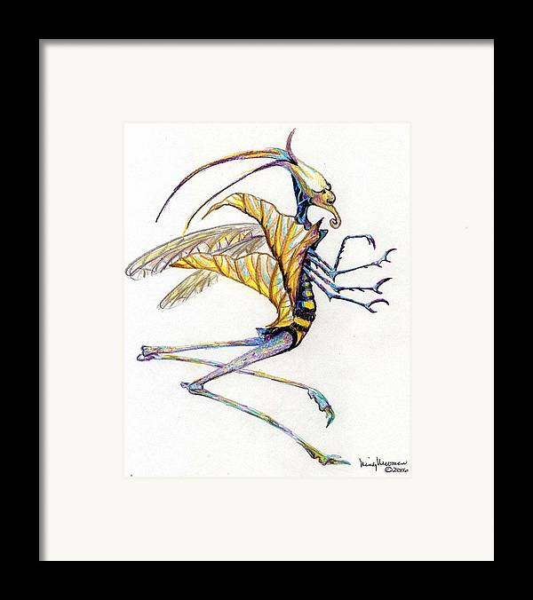 Insect Framed Print featuring the drawing Leaf Hopper by Mindy Newman