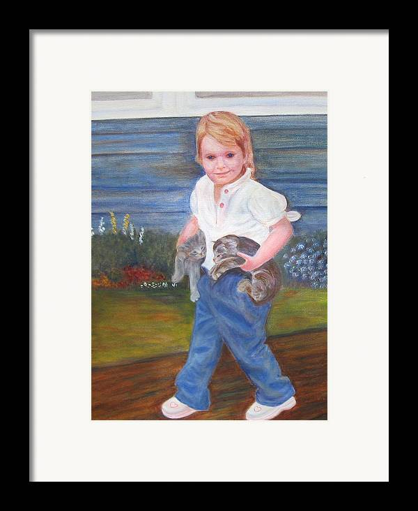 Child Framed Print featuring the painting Leah by Patricia Ortman
