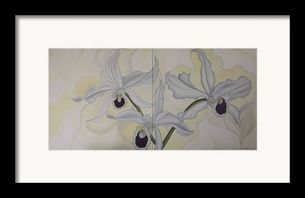 Marinella Owens Framed Print featuring the painting Lealia Purpurata  Orchide by Marinella Owens