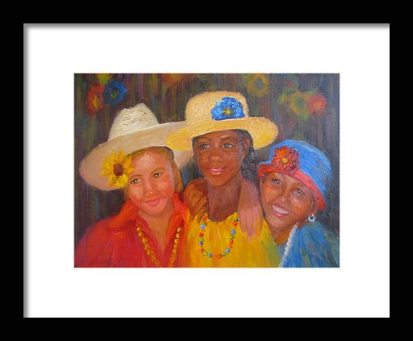 Figure Framed Print featuring the painting Lean On Me by Bunny Oliver