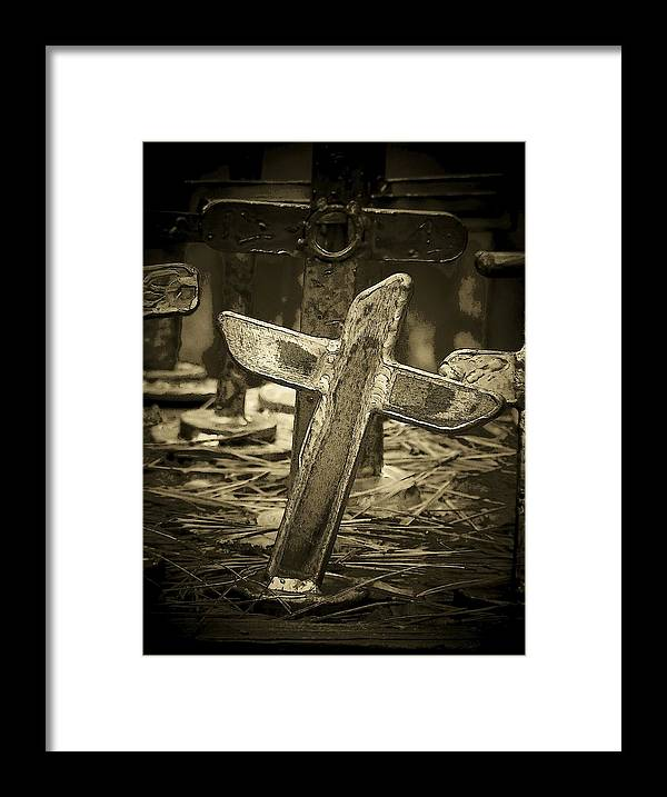 Cross Framed Print featuring the photograph Leaning by Deborah Montana